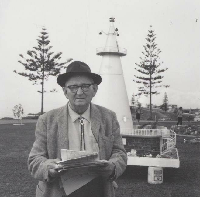 Mr York with model of the Observatory